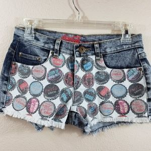 Funky Coca Cola Bottle Caps Jean Shorts Size Small